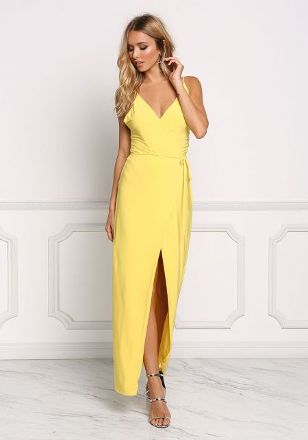 Yellow Sleek Wrap Maxi Dress