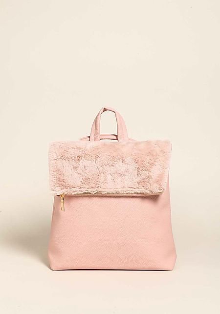 Pink Faux Fur Leatherette Backpack