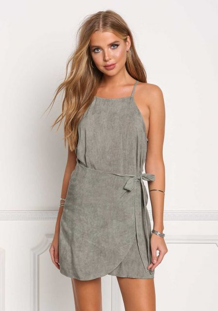 Olive Vintage Wash Layered Shift Dress