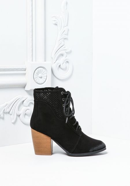 Black Suedette Lace Up Stacked Booties
