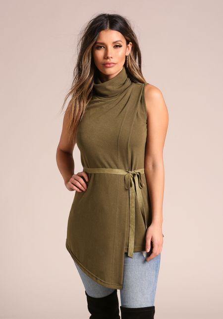 Olive Asymmetrical Mock Neck Shift Dress