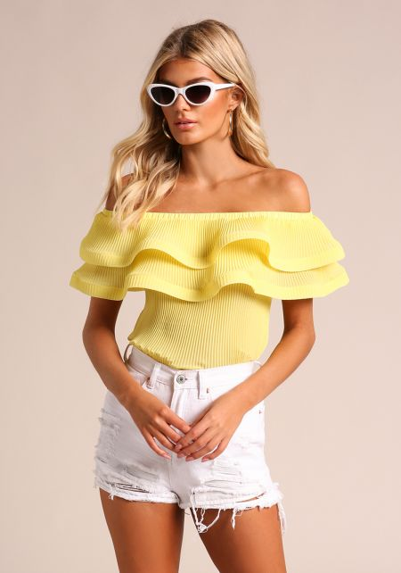 Yellow Pleated Tiered Off Shoulder Blouse