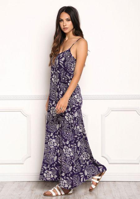 Indigo Gauze Floral Scoop Maxi Dress