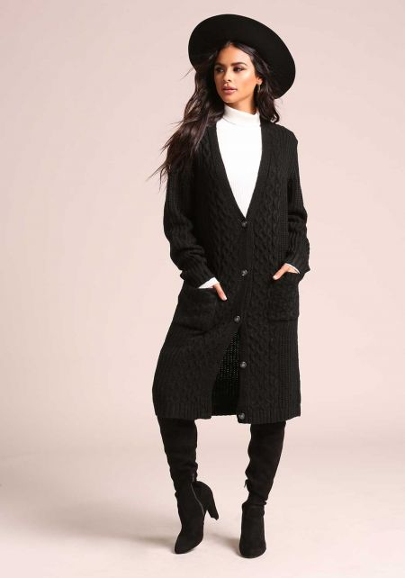 Black Cable Knit Pocket Longlined Cardigan