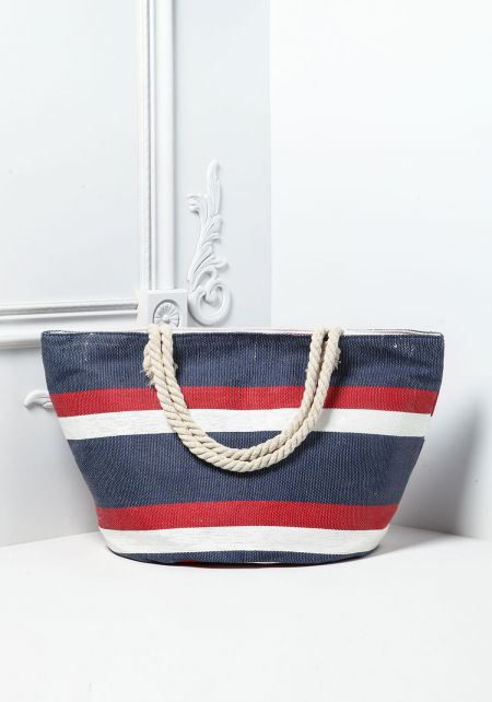 Blue and Red Striped Canvas Tote Bag