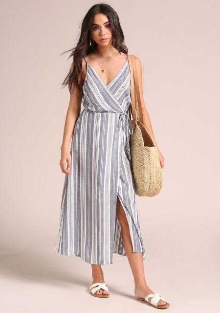 Navy Pinstripe Wrap Midi Dress