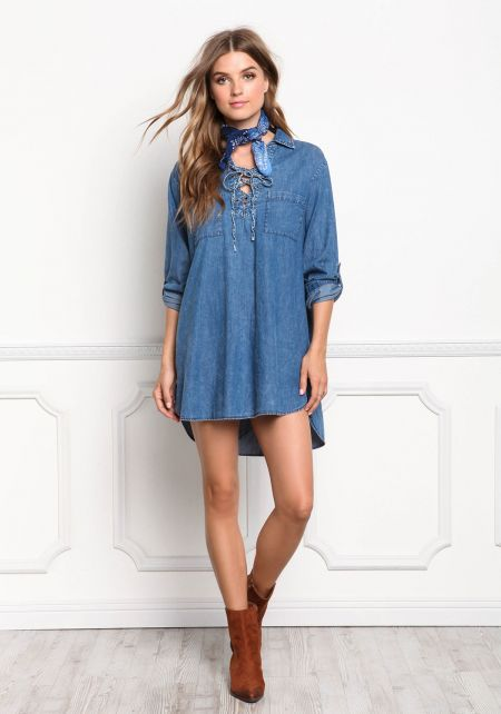 Denim Lace Up Collared Shift Dress