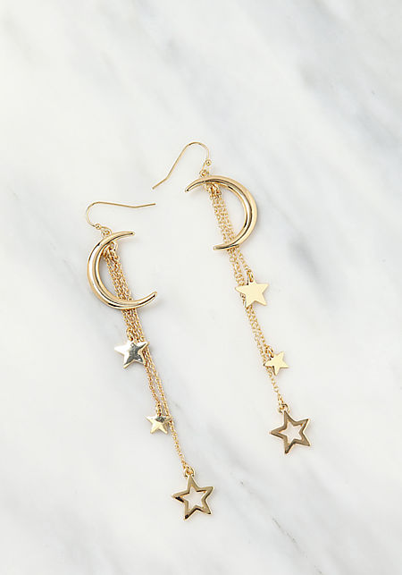 Gold Moon & Star Dangle Earrings