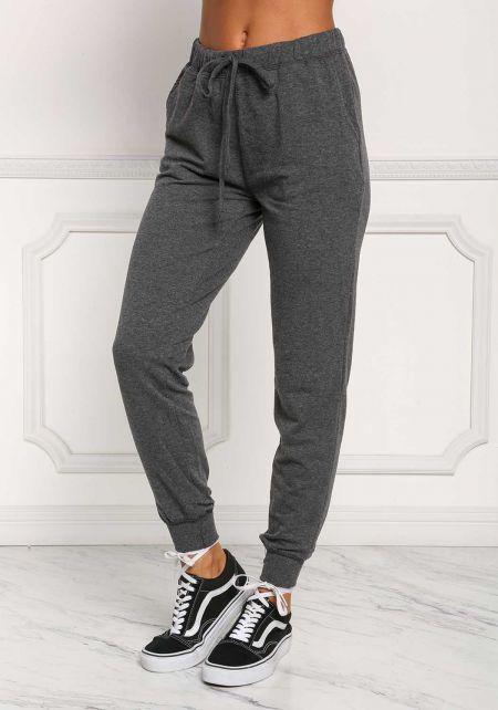Charcoal Drawstring Pocket Jogger Pants