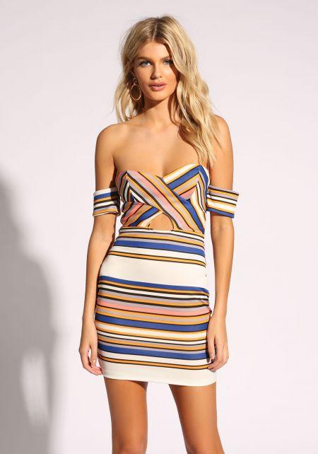 Multi Stripe Cut Out Bodycon Dress