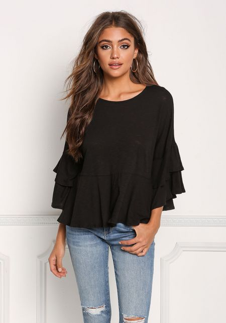 Black Layered Bell Sleeve Flared Top