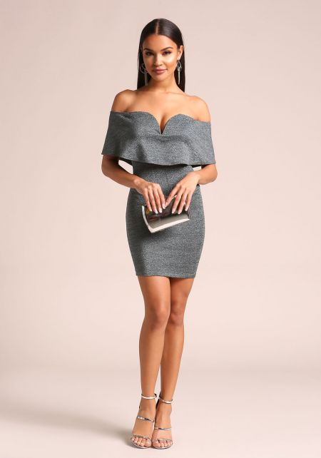 Hunter Green Shimmer Plunge Off Shoulder Bodycon D