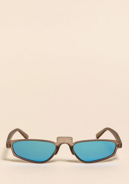 Grey Mirrored Skinny Sunglasses