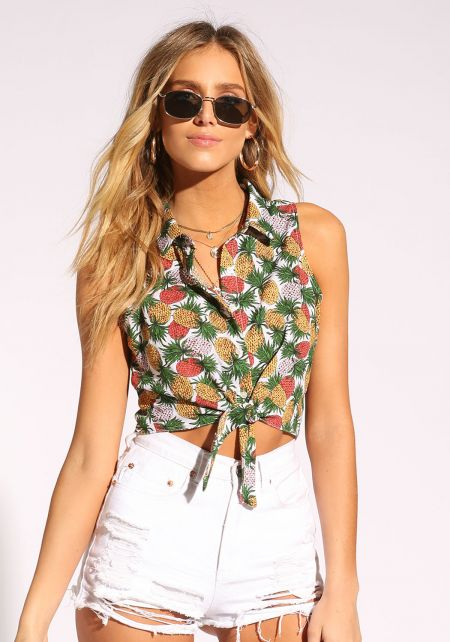 Multi Pineapple Tie Front Crop Top