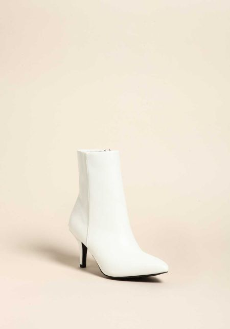 White Patent Leatherette Pointed Toe Booties