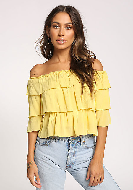 Yellow Tiered Off Shoulder Crop Top