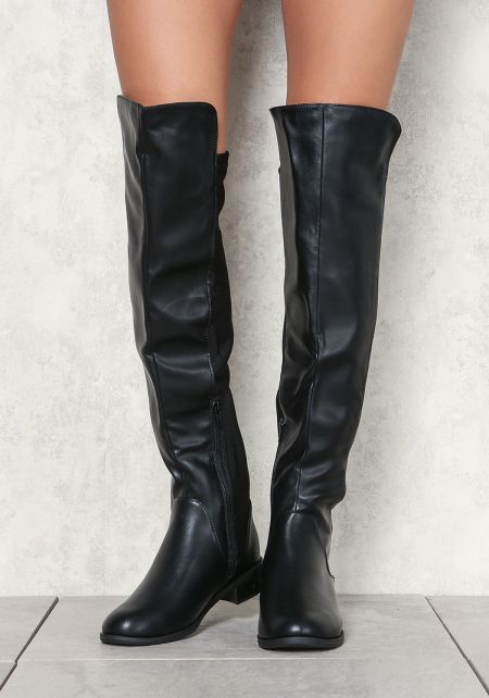 Black Over The Knee Leatherette Boots