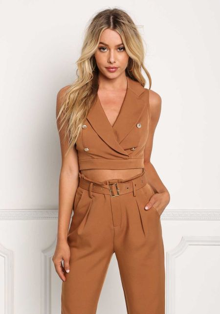 Mocha Double Breasted Lapel Crop Top