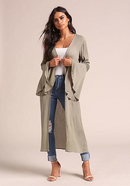 Olive Crepe Bell Sleeve Longlined Kimono