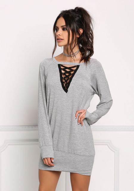 Heather Grey Plunge Caged Tunic Top