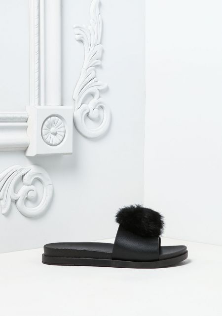 Black Furry Pom Pom Slide Sandals