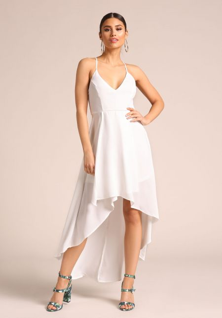 Off White Hi-Lo Cross Strap Maxi Dress