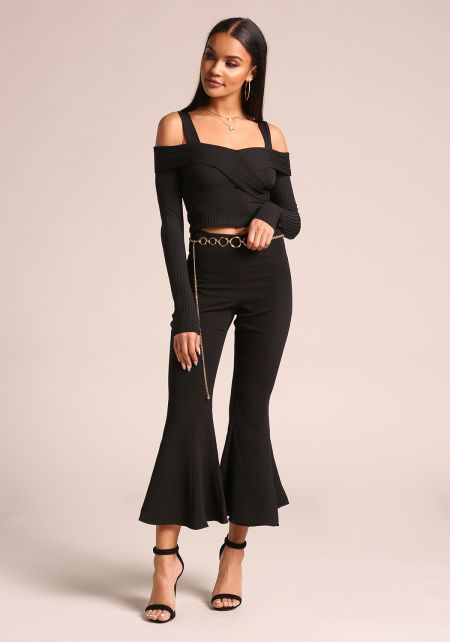 Black Cold Shoulder Ribbed Knit Crop Top