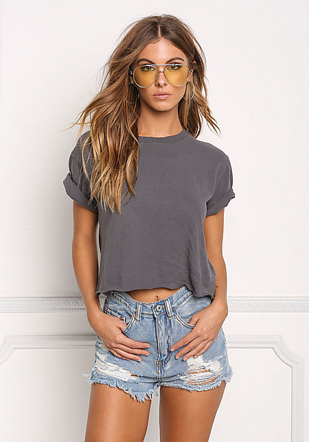 Charcoal Boxy Cropped Tee