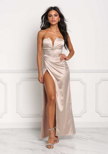 Champagne Silky Plunge High Slit Maxi Gown