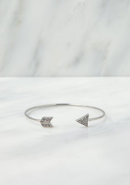 Silver Rhinestone Arrow Cuff Bracelet