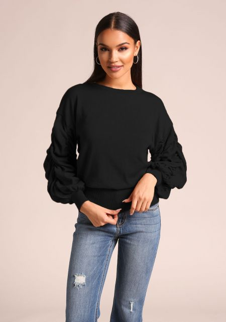 Black Ruched Puff Sleeve Knit Sweater Top
