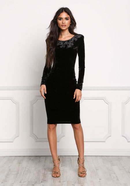 Black V Back Crushed Velvet Bodycon Dress