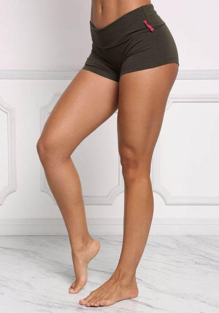 Olive Low Rise Stretch Shorts