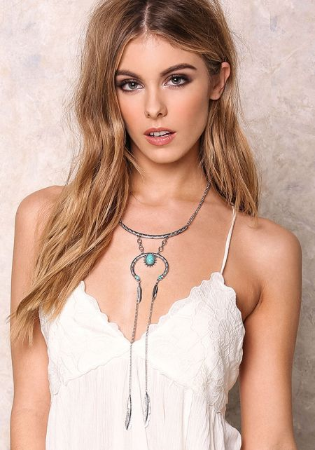 Silver Turquoise Tribal Tiered Necklace Set