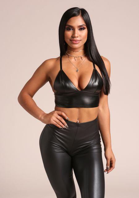 Black Leatherette Plunge Crop Top