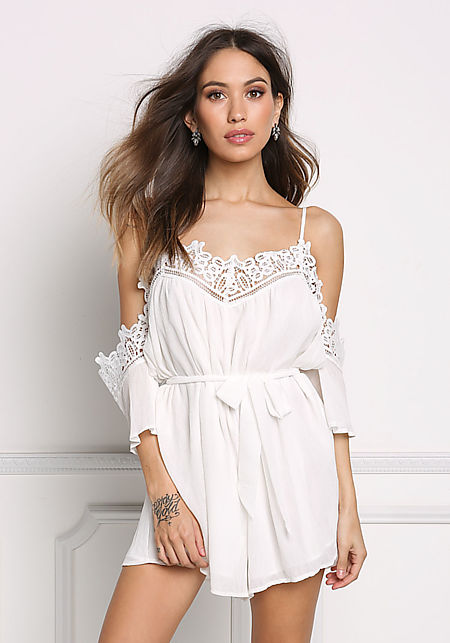 Off White Embroidered Cold Shoulder Crepe Romper