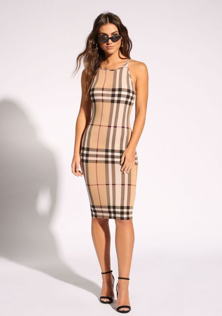 Taupe Plaid Bodycon Dress
