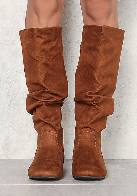Tan Suedette Ruched Knee High Boots