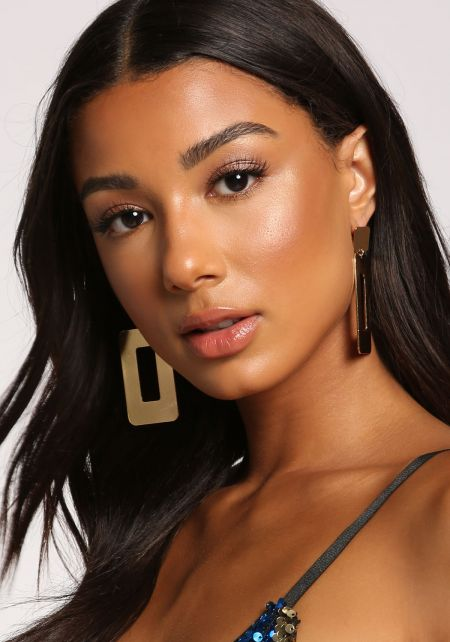 Gold Thick Cut Out Drop Earrings