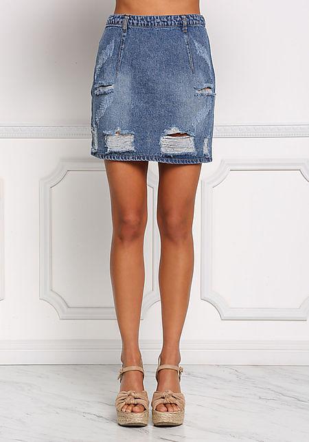 Denim Distressed Boxy Skirt