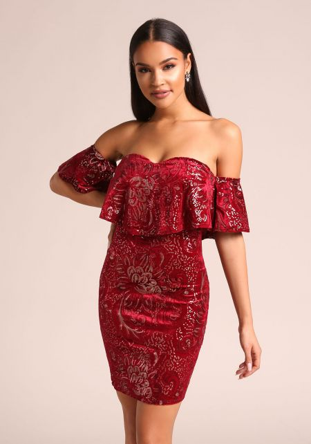 Burgundy Floral Sequin Velvet Off Shoulder Bodycon