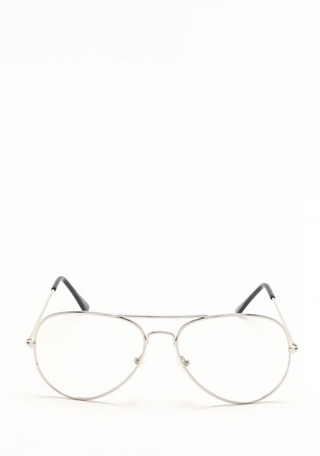 Zero UV Silver Clear Lens Aviator Glasses