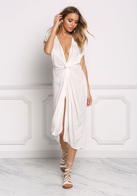 Ivory Gauze Plunge Twisted Midi Dress