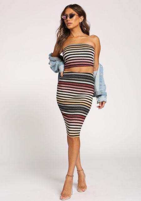 Multi Sparkle Stripe High Rise Skirt