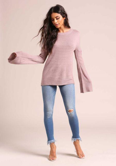 Mauve Back Cut Out Sweater Top