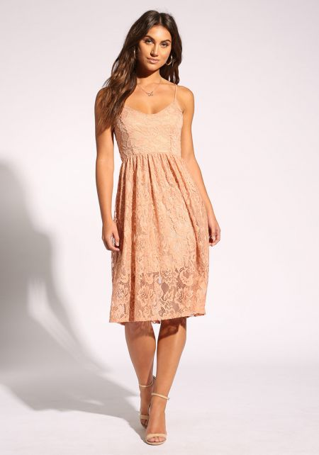 Peach Floral Lace Flared Dress