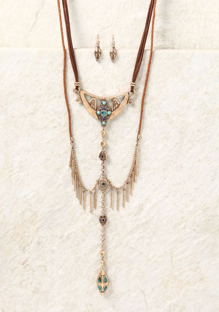 Gold Suedette Layered Pendant Necklace