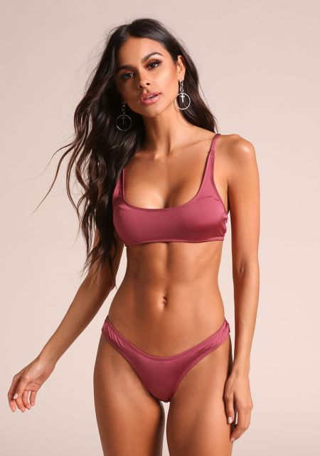 Sangria Metallic Swimsuit Bikini Top