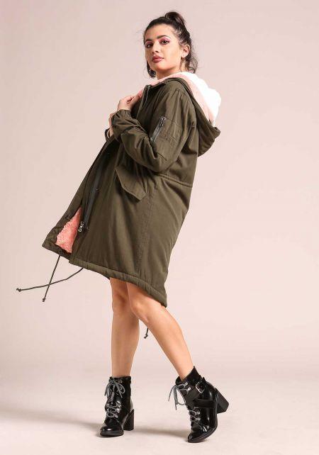 Olive Hooded Faux Fur Lined Parka Jacket