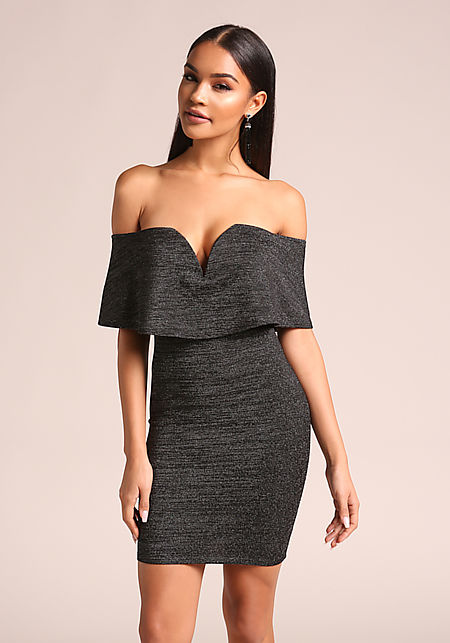 Black Shimmer Plunge Off Shoulder Bodycon Dress
